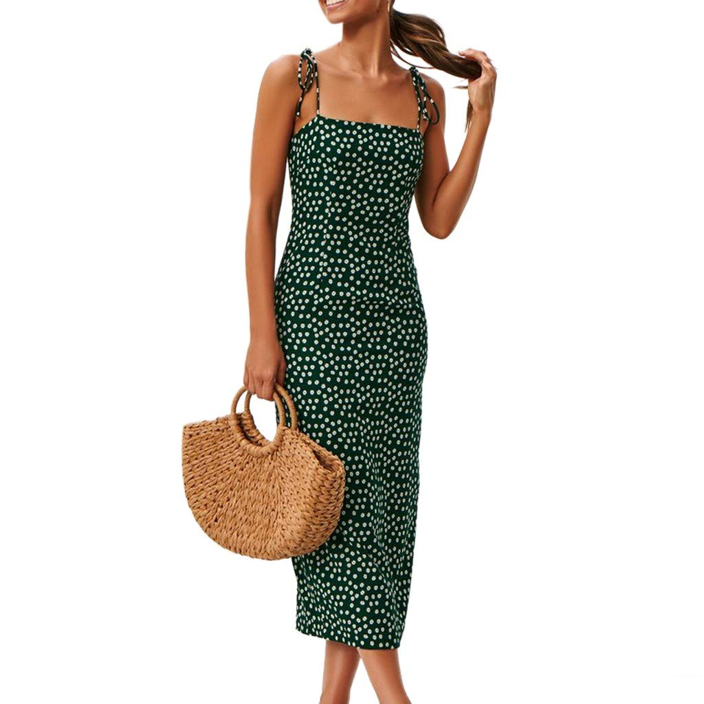Wrap Dress Sexy Womens Fashion Ladies Open Fork Lace-Up Zipper Print Casual Dress (Green,S)