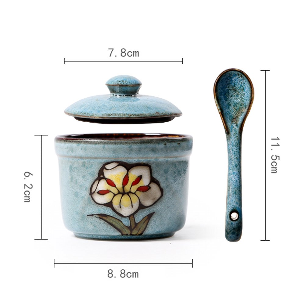 Ceramics Retro Flower Sugar Bowl with Lid and Spoon 5.5 Ounces Blue by dodola (Image #6)