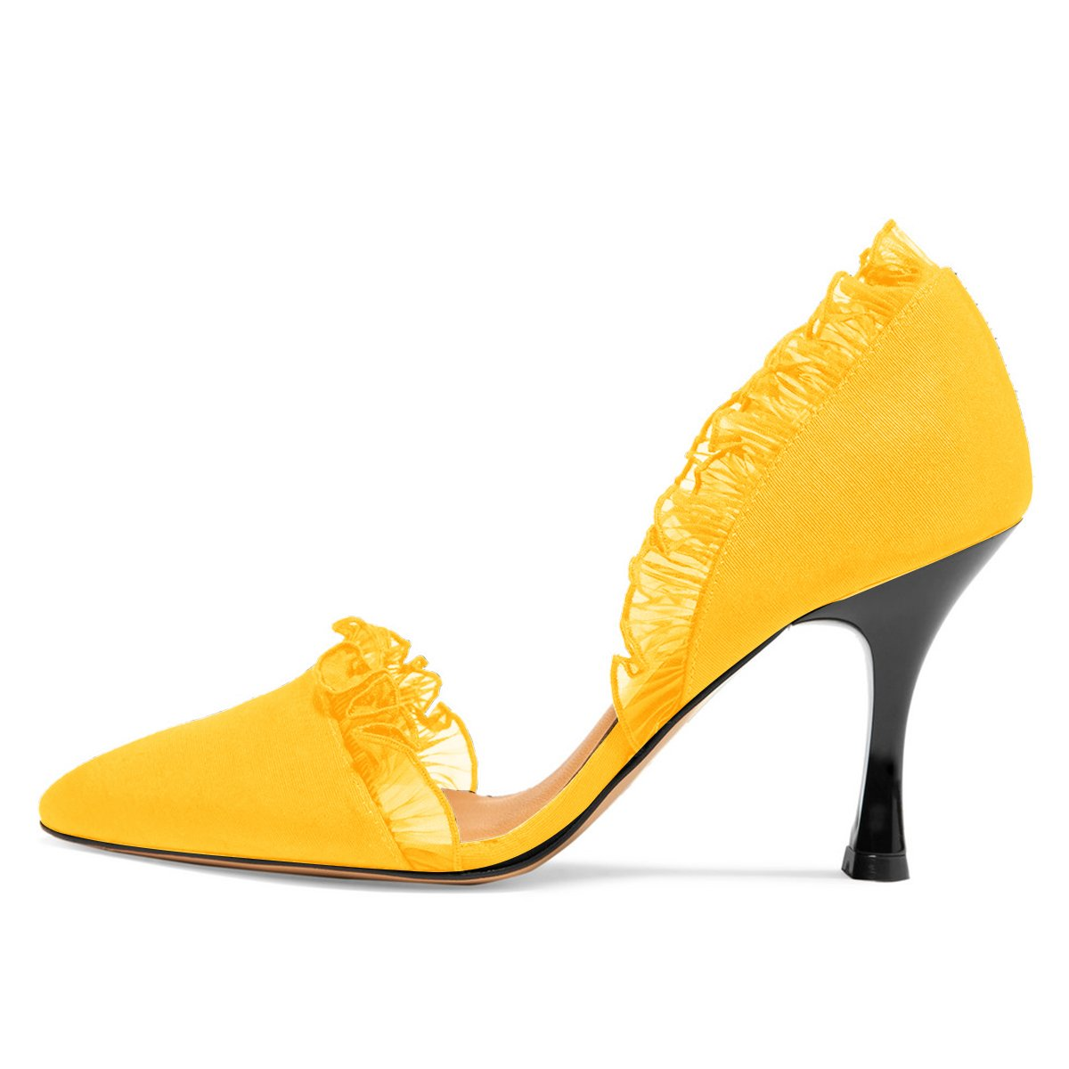 XYD Women Lace D'Orsay High Pumps Pointed Toe Stiletto High D'Orsay Heels Slip on Dress Wedding Bridal Shoes B07BHJZYYJ 10 B(M) US|Yellow 197764