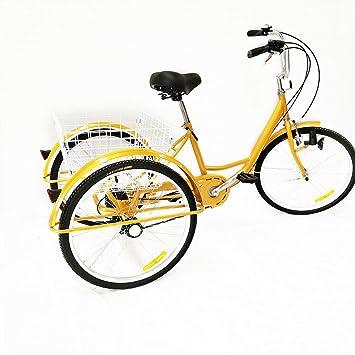 "OU BEST CHOOSE Bicicleta de 6 velocidades con 3 Ruedas, Triciclo Adulto de 24"""