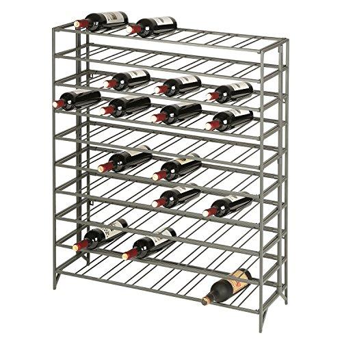 80 Bottle Modern Foldable Metal Connoisseurs Wine Rack, Cellar Storage Display Stand, Gray Folding Liquor Cabinets