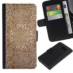 Billetera de Cuero Caso Titular de la tarjeta Carcasa Funda para Samsung Galaxy S6 SM-G920 / Wallpaper Wood Carving Brown Design Art / STRONG