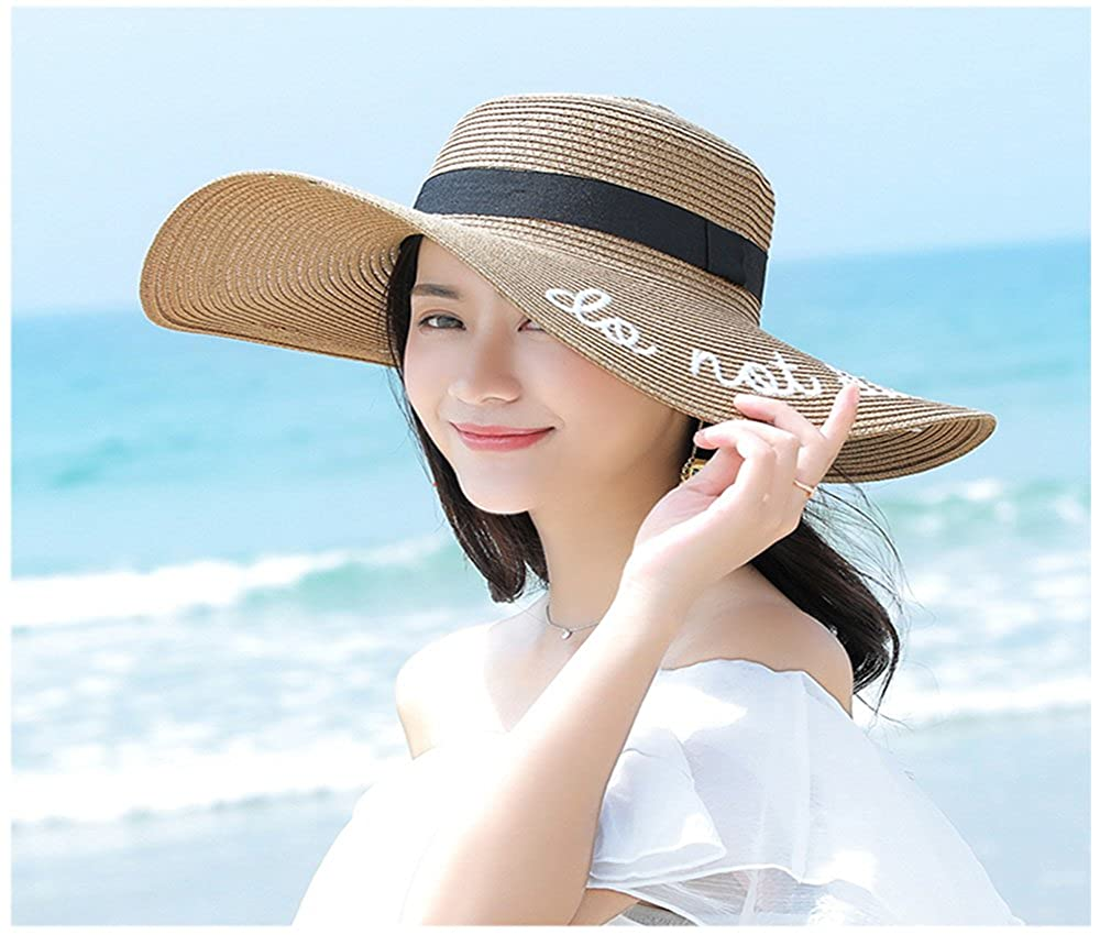 Sun Hat Women s Adjustable Beach Hats with Embroidered Phrase Do Not  Disturb Large Wide Brim for Beach Park Pool Straw Hat Khaki 7a676371ceb