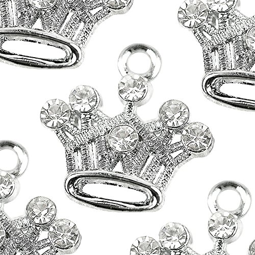 M81-E Cute Crystal Crown Charms Pendants Beads Wholesale (10 pcs) Crystal Crown Charm Necklace