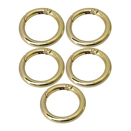 Bqlzr 42 mm od 30 mm ID oro in lega di zinco rotonda moschettoni a scatto clip anello fibbia per borse borse e portachiavi, confezione da 5