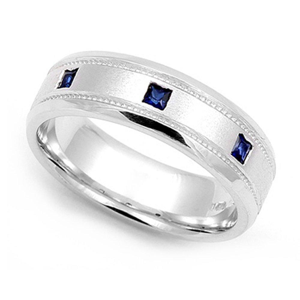 14k White Gold Bezel set Blue Sapphire Wedding Band Ring, 12.5