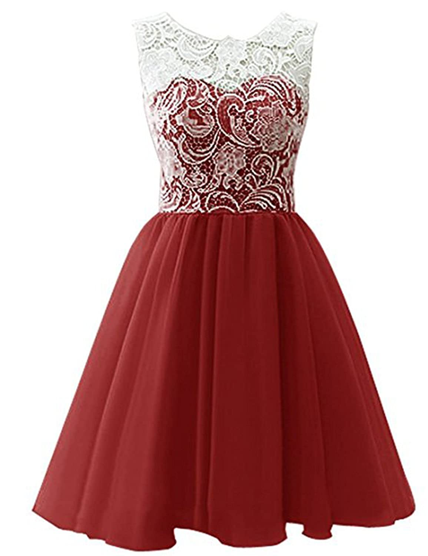 Burgundy YIRENWANSHA 2018 Short Homecoming Dress for Women Manual Lace Knee Length Formal Prom Gown YJW5