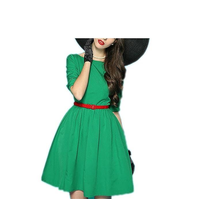 Amazon.com: Paule Trevelyan NEW nova chegada vestido de baile vestido europa cor sólida com cinto de moda para senhora ocidental elegante vestido: Clothing