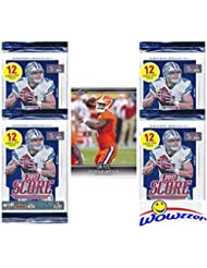 2017 Score NFL Football Lot of FOUR(4) Factory Sealed Packs with 48 Cards plus BONUS ROOKIE Card of Texans QB DESHAUN WATSON!  Loaded with RC'S & INSERTS! Look for Autographs of Top NFL Picks! WOWZZER