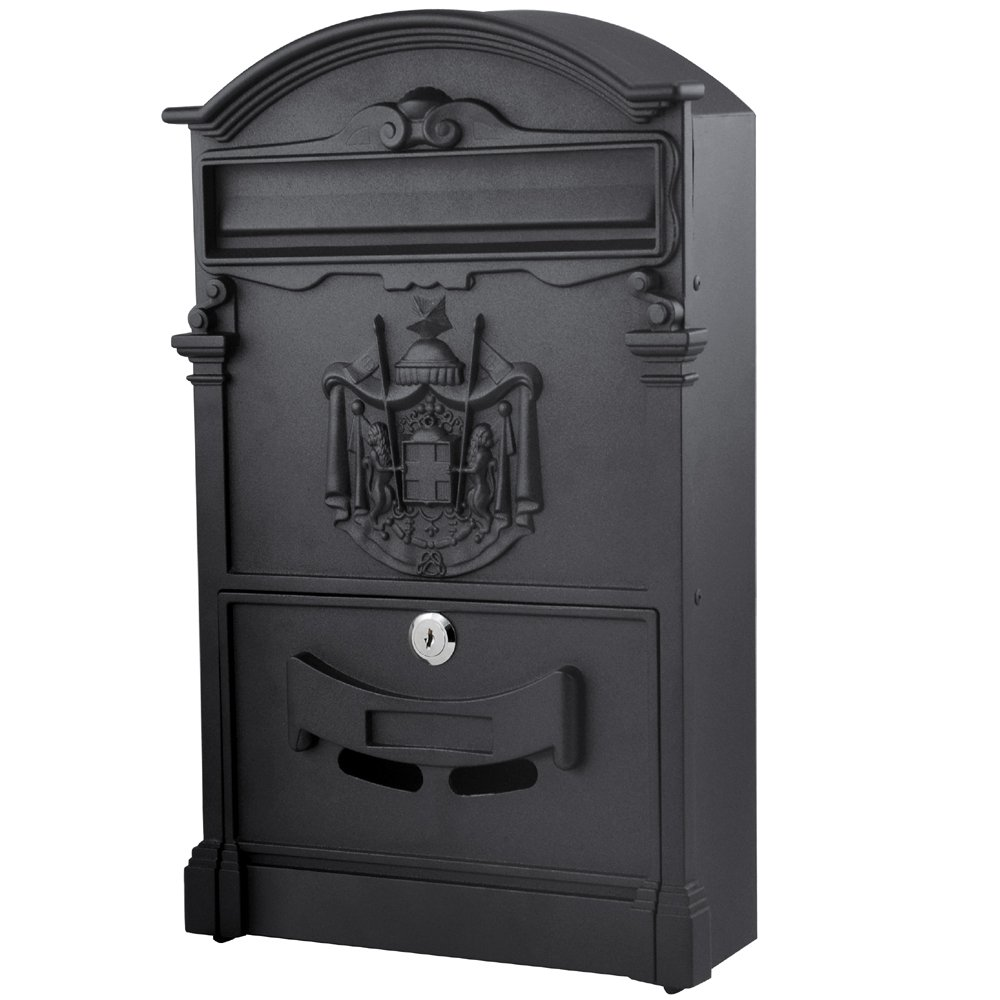 Popamazing Outdoor Lockable Post Letter Mailbox Letterbox Postbox Black