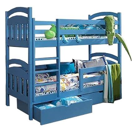 Daisy madera de pino niños litera con colchones y almacenamiento cajones, madera, azul,