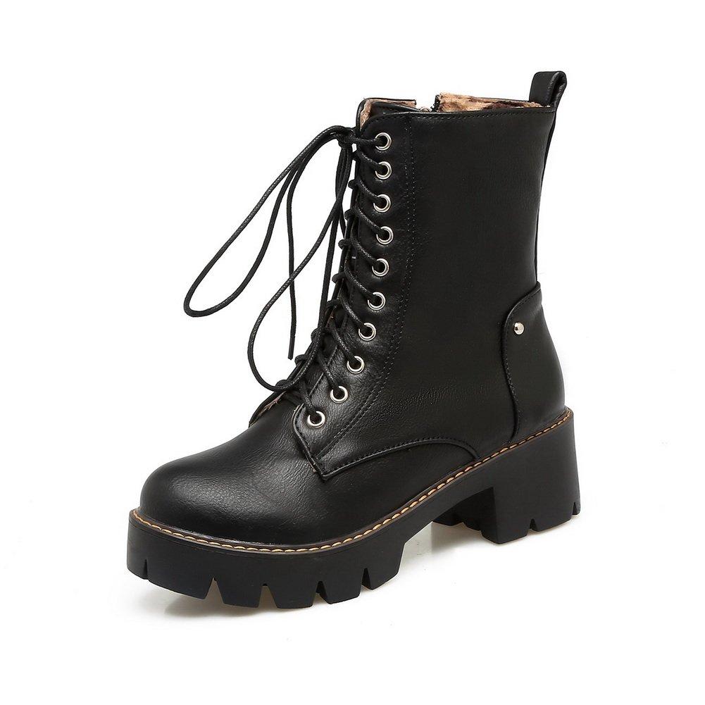 AdeeSu Womens Velvet Bandage Chunky Heels Platform Velvet Womens Lining  Leather Boots SXC02680 B078ZYJPS6 Platform 9fa14b