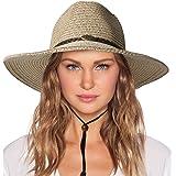 Womens Sun Straw Hat with Wind Lanyard UPF Beach Packable Summer Beach Cowboy Shapeable Gargen Straw Hats for Women Men