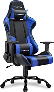 GTPOFFICE Gaming Chair Massage Office Computer Chair for Adult Reclining Adjustable Swivel Leather Computer Chair High Back Desk Chair Headrest and Massage Lumbar Support Cushion,1 Pack (Blue)