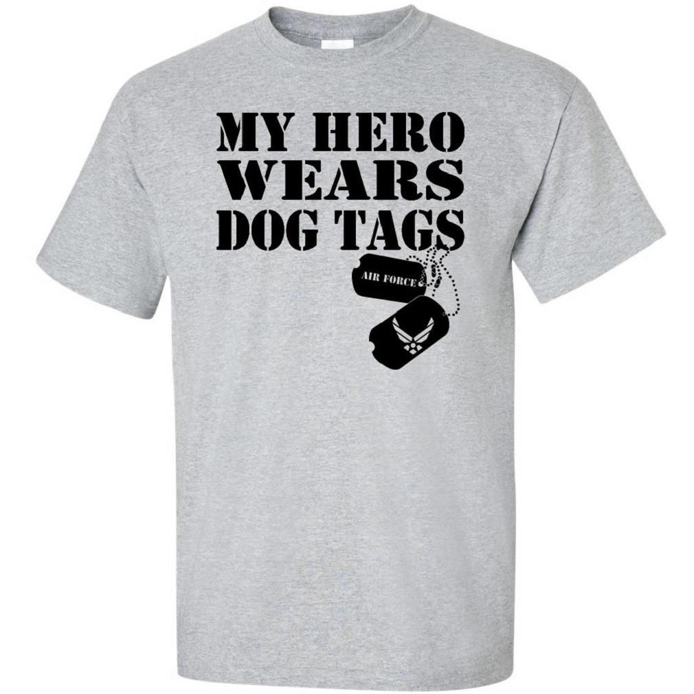 9e464183bea6 My Hero Wears Dog Tags - Air Force Short Sleeve T-Shirt at Amazon ...