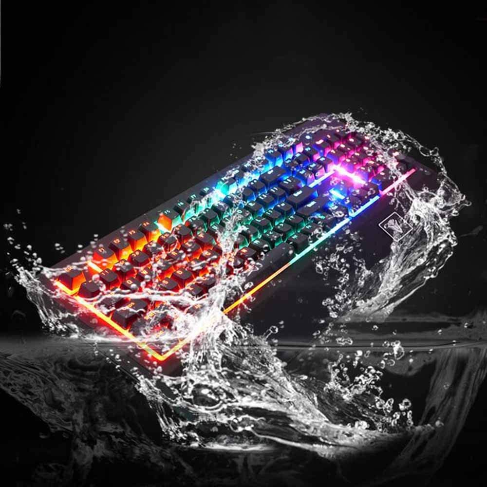 HKJCC Optical axis Waterproof Gaming Keyboard with Big Hand Support Single Game Keyboard Mechanical Green axis