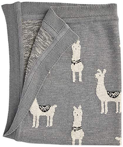 Creative Co-Op Cotton Knit Baby Blanket, Llama, Grey (Coop Knits)