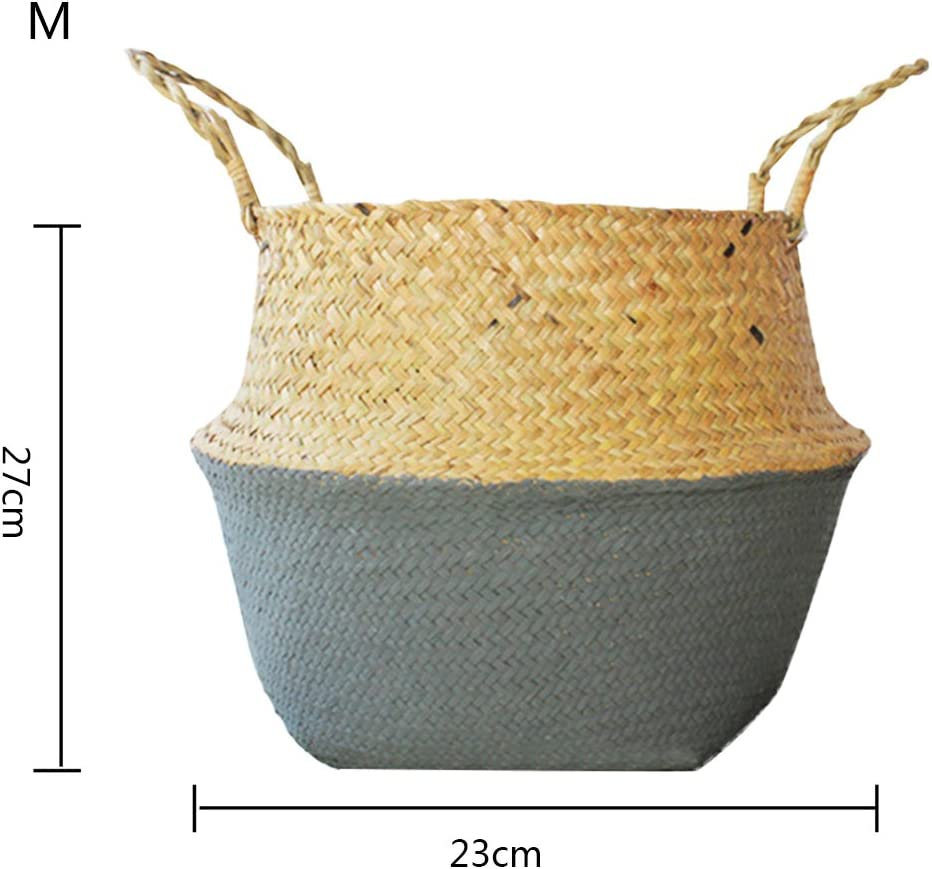 Yunt Natural Straw Hand-Woven Foldable Storage Basket Tote Belly Panier Basket for Dirty Clothes Fruit Toys Nordic Style Plant Flower Pots L
