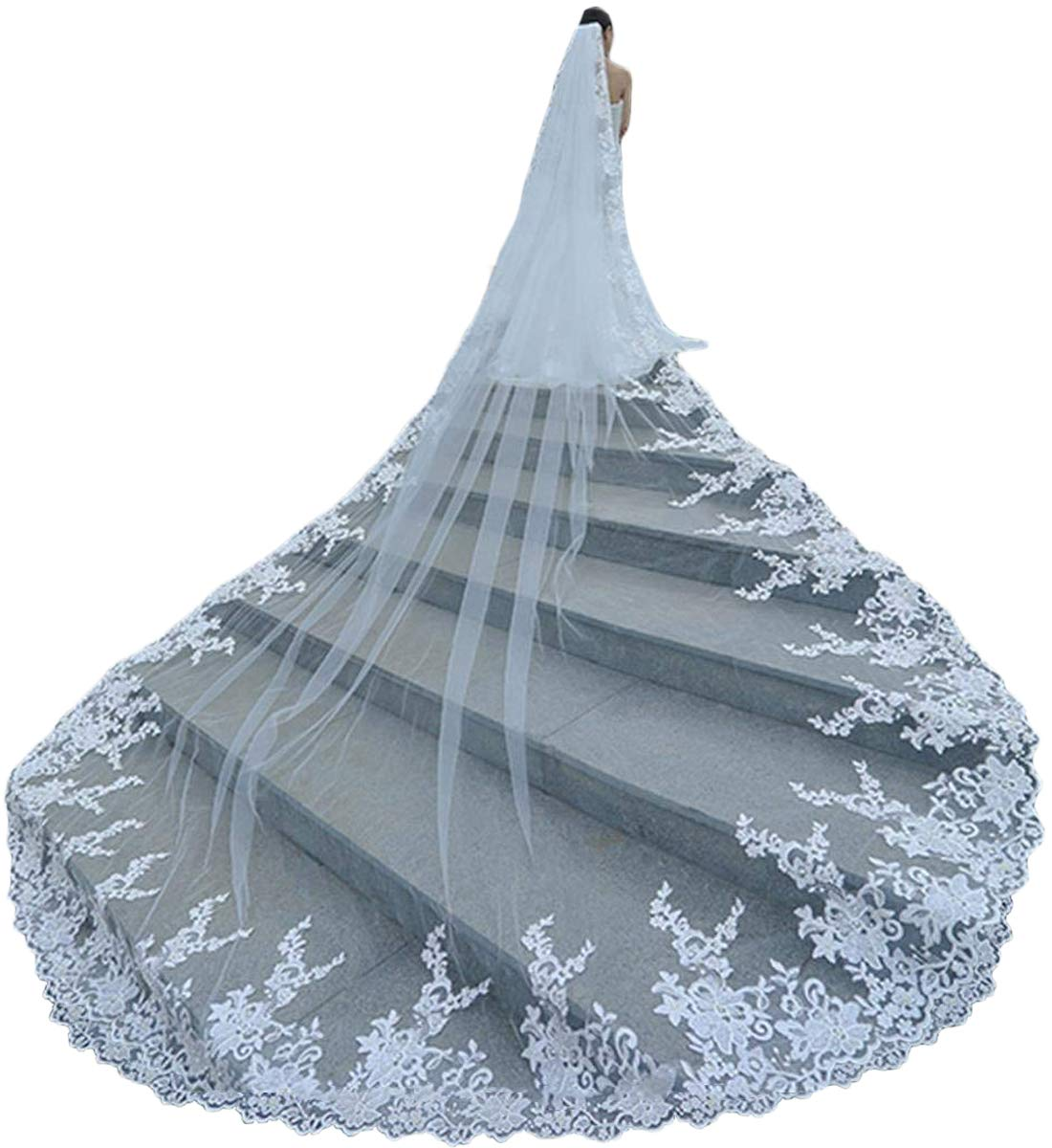 Faithclover Wedding Veils Long Cathedral Full Floral Lace Egde 1 Tier with Comb by Faithclover