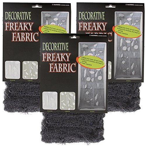 (Halloween Haunters Black Freaky Loose Weave Creepy Cloth Fabric (Pack of 3) - Drape on Props and Decor for Spooky, Scary Haunted)