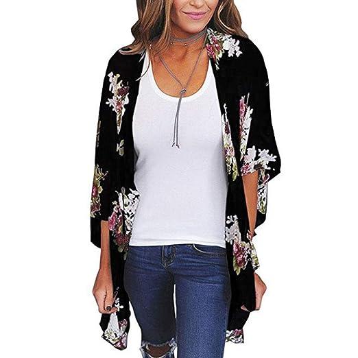 Women/'s Vintage Loose Blouse Summer Boho Chiffon Coat Shawl Kimono Cardigan Tops