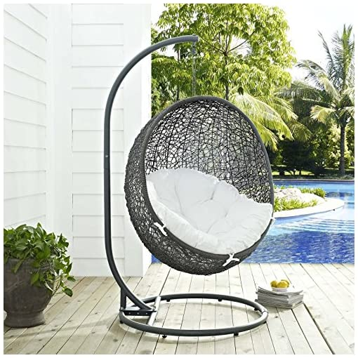Mid Century Rattan Chair, Modway Hide Wicker Rattan Outdoor Patio Porch Lounge Egg Swing Chair Set With Stand In Gray White Beachfront Decor