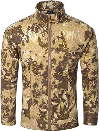 Uniforme de los hombres Chaqueta de manga larga de pitón amarillo Camuflaje Combate Caza Camisa para caminar Cremallera Ocio Traje oculto al aire libre Ejército táctico Combate Camisas de manga larga: Amazon.es: