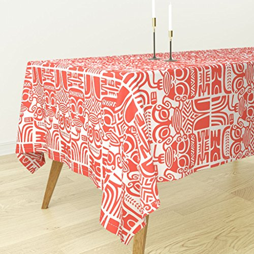 Roostery Tablecloth - Tiki Tapa Hawaiian Tahitian Fijian Island Aloha by Muhlenkott - Cotton Sateen Tablecloth 90 x 90