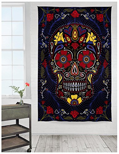 Colorful Wall Tapestry Hippie Sugar Skull in Decorative Flower Wreath Print, Bedroom Living Room Dorm Wall Tapestry Hanging, Black Yellow Red (Sugar Skull Bedroom Decor)