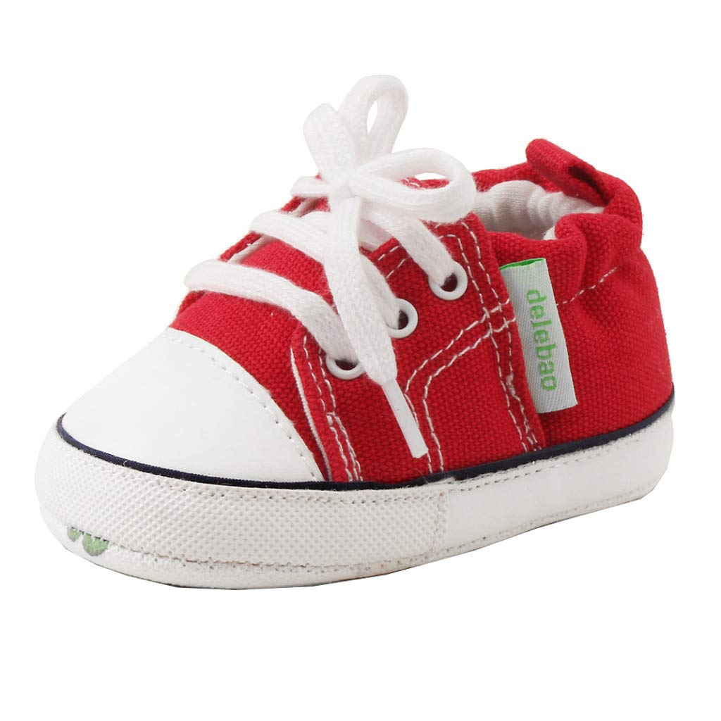 Yalasga Newborn Baby Girls Boys Lace Up Canvas Shoes Anti-Slip First Walkers Prewalker Soft Sole Sneaker (Red, 0-6Months)