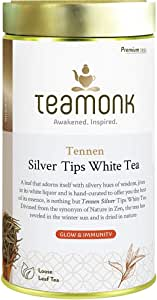 Teamonk Silver Needle Tips Nilgiris White Tea Loose Leaf (25 Cups) | 100 % Pure Natural White Tea | Tea for Glowing Skin | Immunity Boosting Tea | No Additives - 75 g
