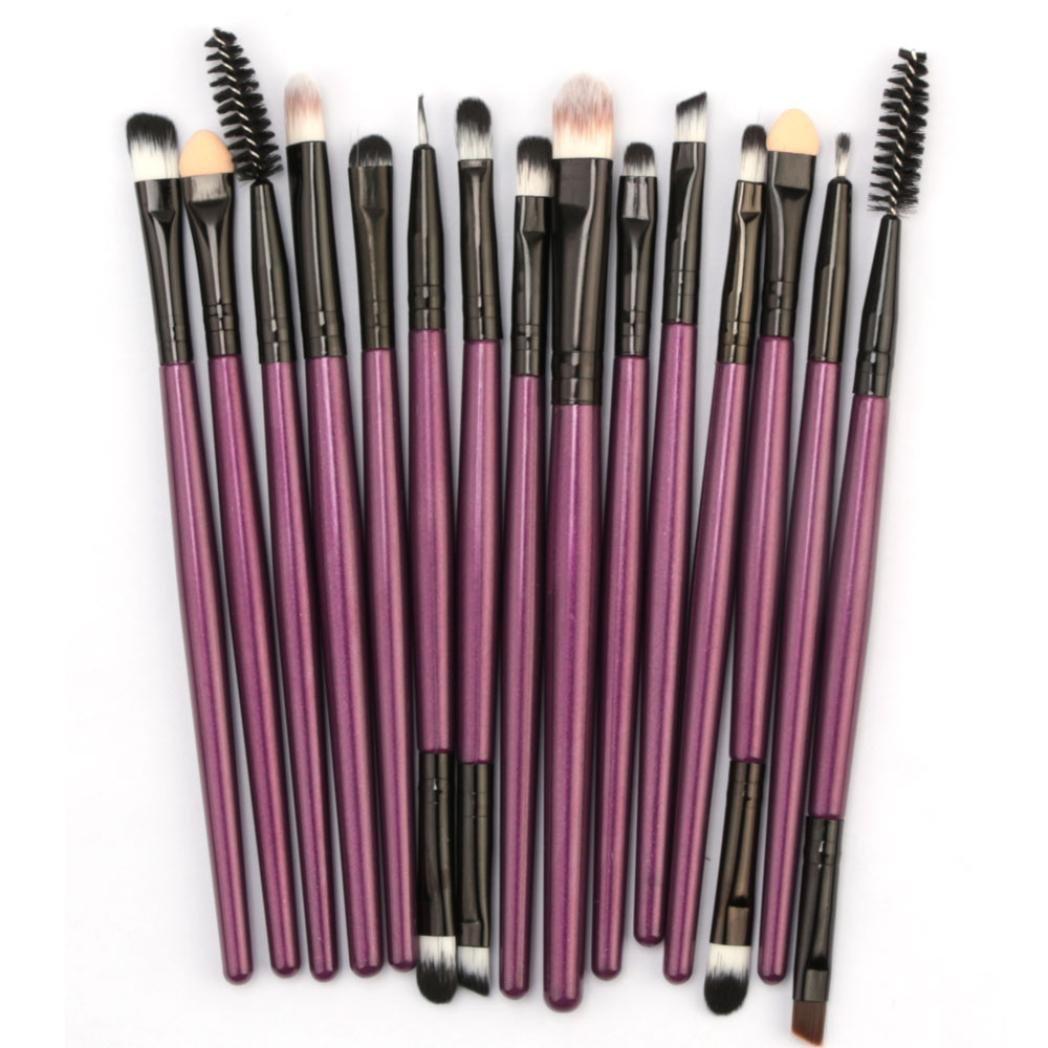 15Pc Makeup Brushes Set for Women Girls Teens,Iuhan® 15pcs/set Makeup Brush Set tools Make-up Toiletry Kit Wool Make Up Brush Set (Purple)