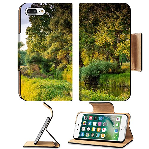 Liili Premium Apple iPhone 7 Plus Flip Pu Leather Wallet Case Wooded riverside landscape in Hungary iPhone7 Plus Image ID - Riverside North Park