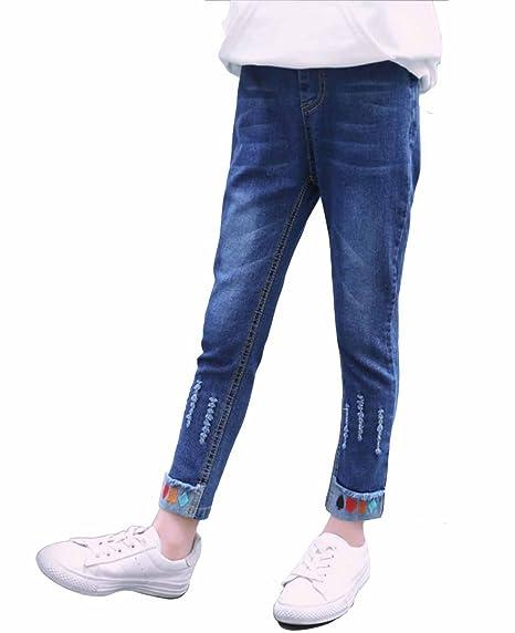 c3da2d03772c3 Amazon | ALKAQ デニムパンツ ガールズ 春夏秋 女の子 ジーンズ 子供用 長ズボン ウエストゴム ロングパンツ | パンツ 通販