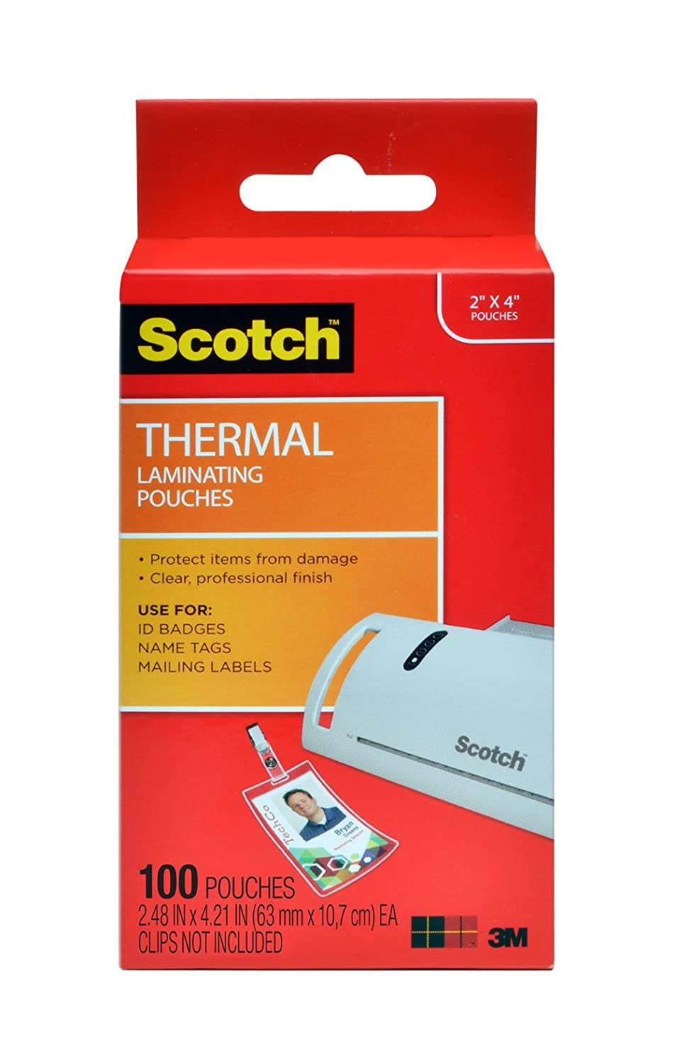 Scotch Thermal Laminating Pouches ID Badge With Clip, 2.4 Inches x 4.2 Inches, 10 Pouches (TP5852-10) 3M Office Products