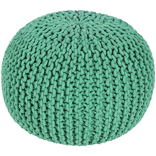 Surya MLPF-006 100-Percent Cotton Pouf, 20-Inch by 20-Inch by 14-Inch, Emerald/Kelly Green from Surya