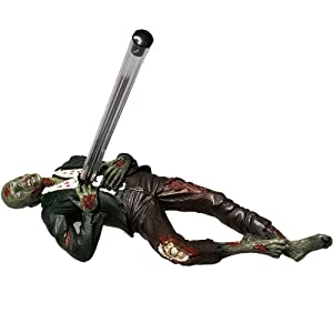 Desktop Accent Zombie Impaled Pen Holder Tabletop Halloween Decoration Walking Dead Zombie Enthusiast Collectible Figurine