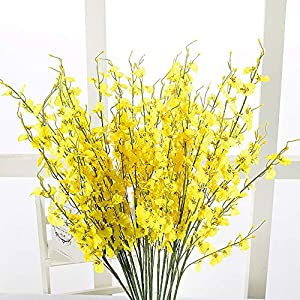 MaxFox Artificial Flowers Long Stem Oncidium Orchid Phalaenopsis Simulation Flowers For Wedding Dinning Decor In Vase 5