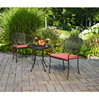 Mainstays Wrought Iron 3-Piece Outdoor Bistro Set, Seats 2 by Mainstays
