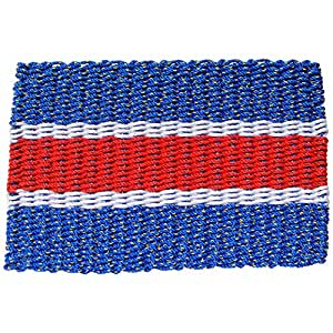 Lobster Rope Door Mats, Handwoven Nautical Rope Outdoor Reversible Entrance Mats, Blue White Red, 24 x 36