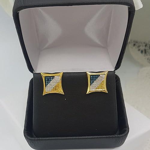 0.33 Carat ctw Blue, White, Yellow Round Diamond Micro Pave Setting Kite Shape Stud Earrings 1 3 CT