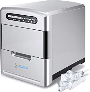 LITBOOS Portable Ice Maker Machine for Countertop, 9 Bullet Ice Cube Ready in 7-9 Mins, 26 lbs/24H Production, Electric Icemaker with Scoop and Basket, Stainless Steel (Light silver)