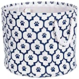 Bone Dry DII Medium Round Pet Toy and Accessory Storage Bin, 15 x 12(H), Collapsible Organizer Storage Basket for Home Décor, Pet Toy, Blankets, Leashes and Food-Navy Lattice Paw Print