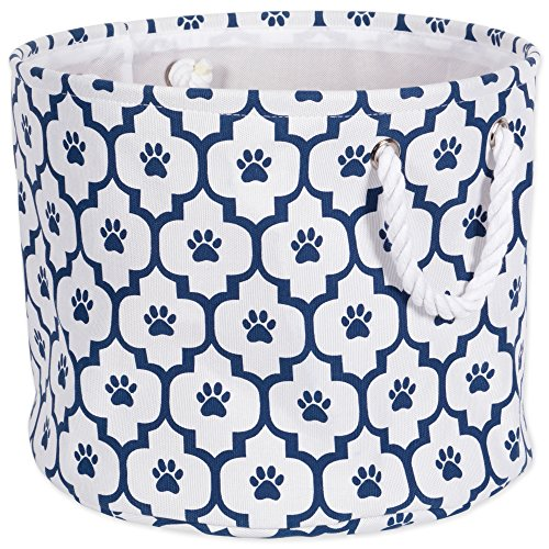DII Bone Dry Medium Round Pet Toy and Accessory Storage Bin, 15 x 12(H), Collapsible Organizer Storage Basket for Home Décor, Pet Toy, Blankets, Leashes and Food-Navy Lattice Paw Print