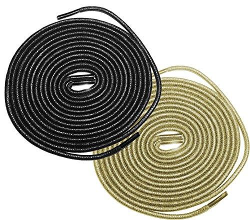Shoeslulu 20-59 Premium Lacci Delle Scarpe Cerate Tondeggianti Bootlaces Nero E Beige