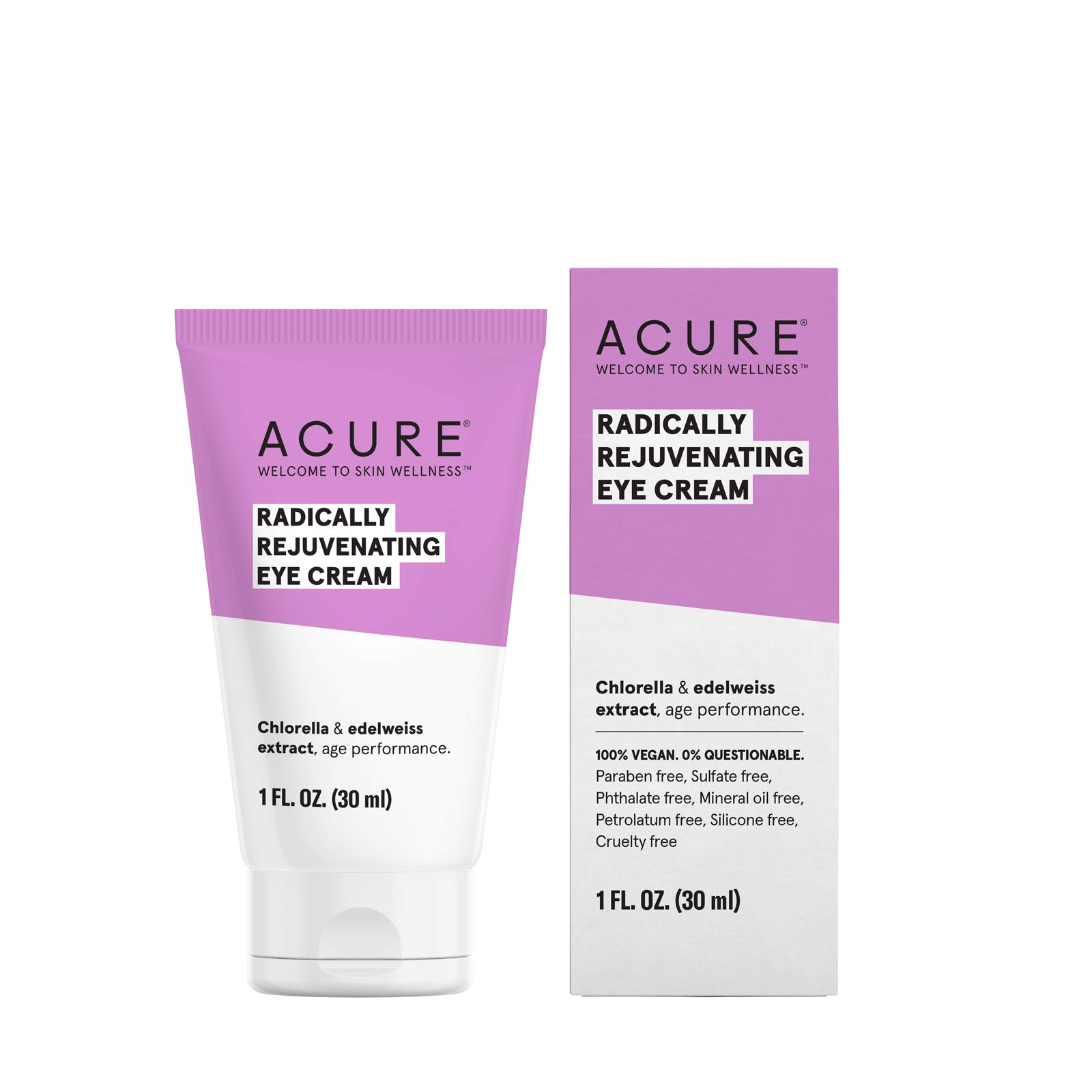 ACURE Radically Rejuvenating Eye Cream | 100% Vegan | Provides Anti-Aging Support | Chlorella & Edelweiss Extract - Hydrates & Minimizes  Fine Lines , Ivory 1 Fl Oz