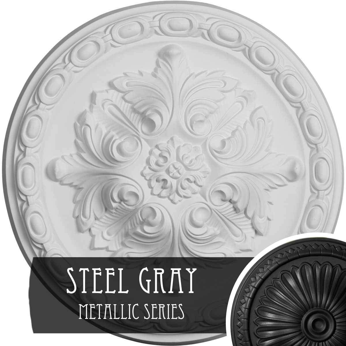 Ekena Millwork CM12STSGS Stockport Hand-Painted Ceiling Medallion, Steel Gray