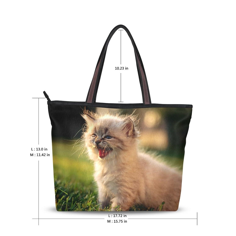 Women Large Tote Top Handle Shoulder Bags Cat Ladies Handbag