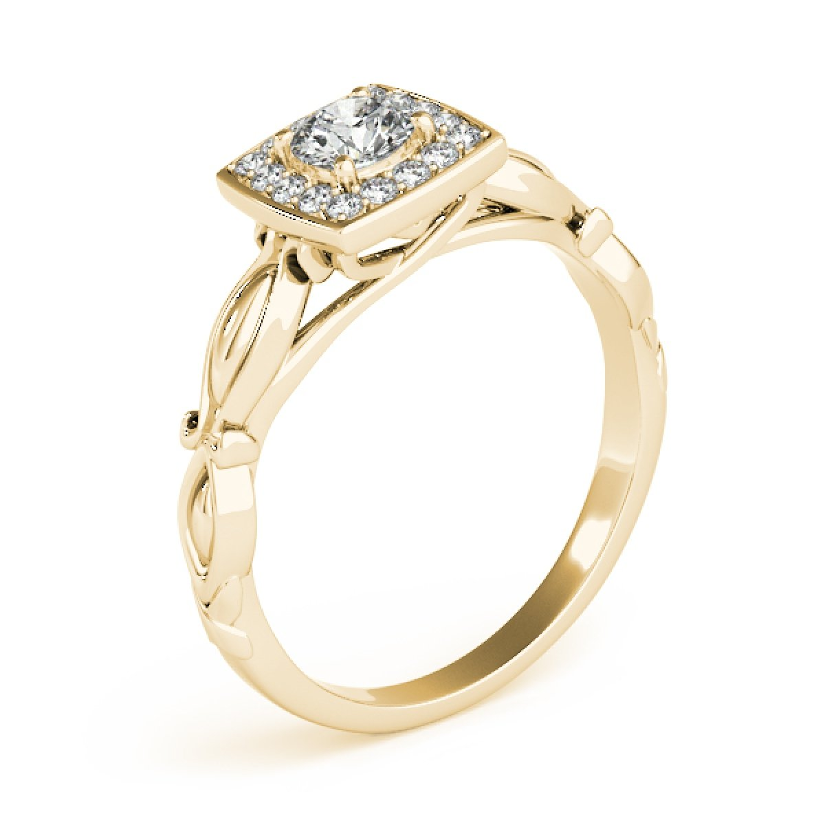 0.50 Ct Diamond Halo Square Cut Engagement Ring In 14K Yellow Gold by MauliJewels (Image #3)
