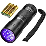 TaoTronics Black Light, 12 LEDs 395nm UV Blacklight Flashlights Detector for Pets Urine and Stains with 3 Free AAA…
